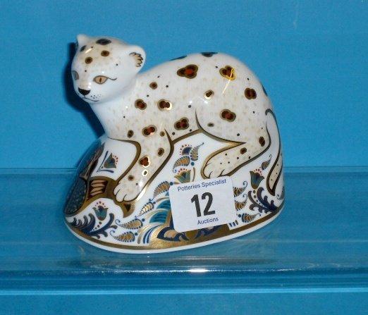 12L: Royal Crown Derby Paperweight The Leopard Cub (gol