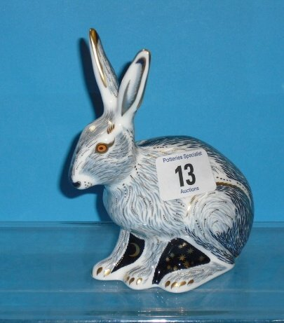 13L: Royal Crown Derby Paperweight Starlight Hare (gold