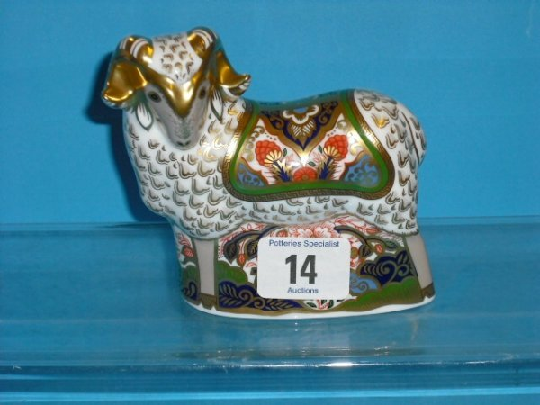 14L: Royal Crown Derby Paperweight Imari Ram (gold Stop