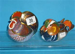 Royal Crown Derby Paperweights Mandarin Duck and C