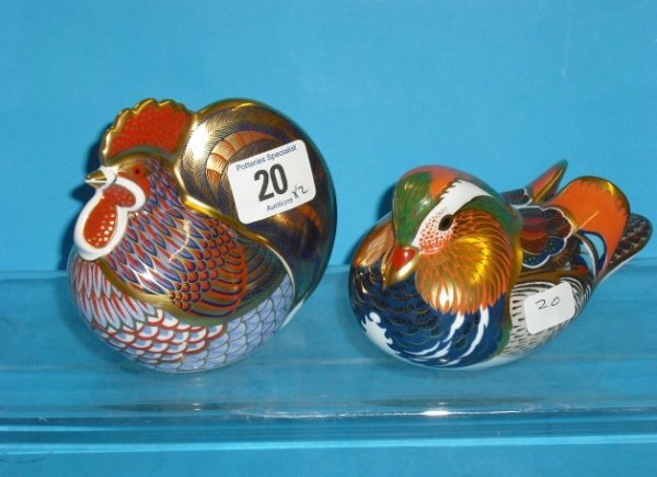 20L: Royal Crown Derby Paperweights Mandarin Duck and C