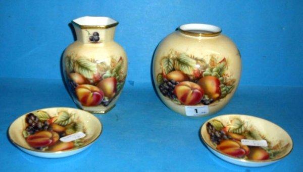 1: Aynsley Orchard Gold Globular Vase, 2 Circular Pin D