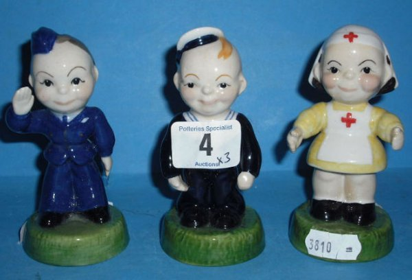 4: Carltonware Kids Figures Airman, Sailor And Nurse Li