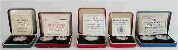 A collection of proof coins from the Royal Mint: