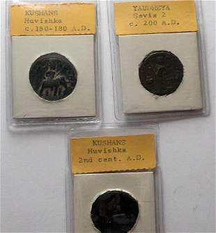Three Ancient India coins copper coins Kushans and