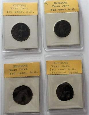 Four ancient Indian coins Kushans Vasu Deva: 3rd