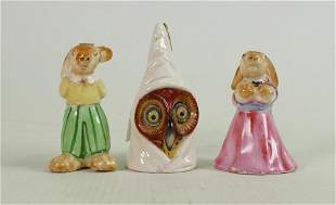 Royal Worcester Owl candlesnuffer: puce marks and two
