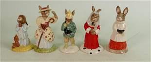 Five Royal Doulton Bunnykins figures: Includes DB228 Bo