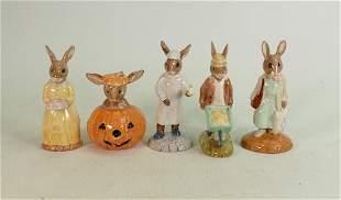 Five Royal Doulton Bunnykins figures: Includes DB137