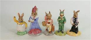 Five Royal Doulton Bunnykins figures all boxed 4 with