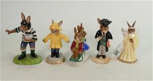 Five Royal Doulton Bunnykins figures: Includes DB156