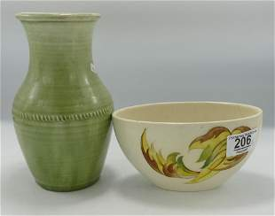 Early Moorcroft Burslem Faded Green Vase: hairline to