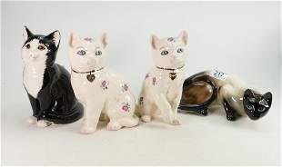 Four Ceramic Cat figures including: Melba Ware & Cats &
