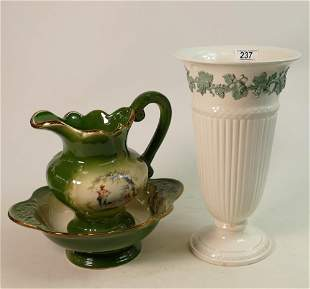 Large Wedgwood Queens Ware Vase: height 32cm together