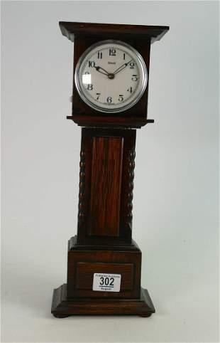 Miniature oak longcase Grandfather clock: With later