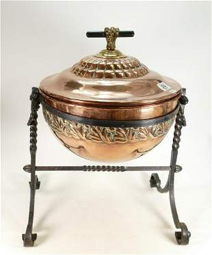 Early 20th c Arts & Crafts copper and iron coal box: A