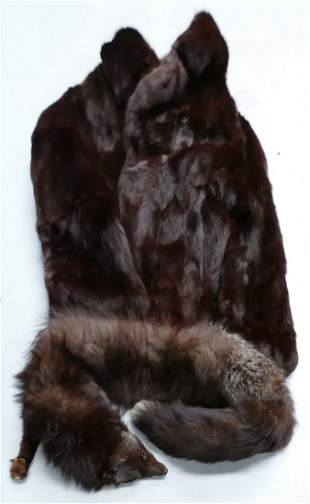 Vintage Fur Jacket & Stole: approx size 8