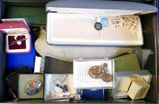 Steel document box full of mainly costume jewellery: