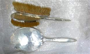 Hallmarked Silver mirror and two brush set: With dents