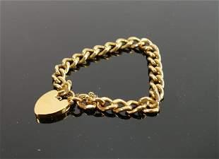 Gold plated curb link bracelet: