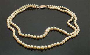 Vintage pearl necklace with 9ct gold clasp: