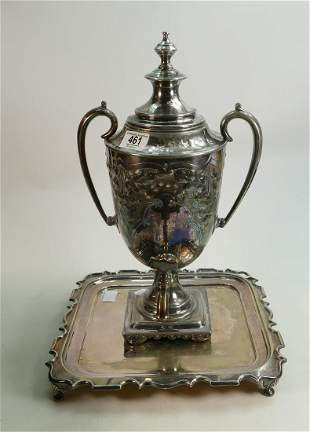 Silver plated EPNS two handled tea urn & cover: h45cm