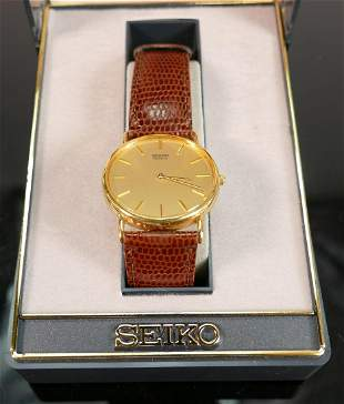 Seiko quartz gentlemans gold plated wristwatch: with