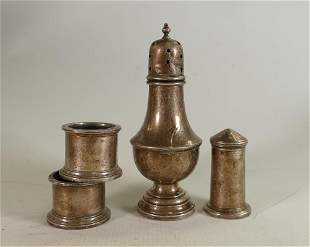 A collection of Silver items: including sugar sifter