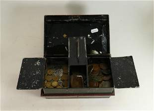 A collection of old copper coins in metal box: