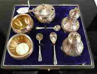 Silver 5 pc condiment set: hallmarked for Birmingham