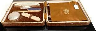 Vintage Silver ladies manicure set in leather case: