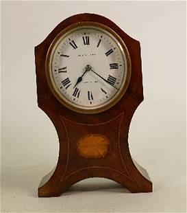 Mahogany inlaid clock: Eustance & Co. Warrington, not