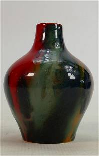 Royal Doulton Sung Flambe veined vase: Height 13cm.