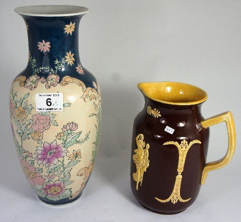 Oriental Style Vase together with a Treacle Glazed Jug