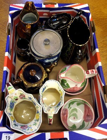 A collection of pots and wares to include Wedgwood
