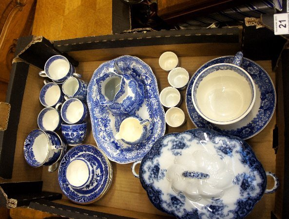 A collection of Copeland blue and white part tea