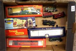 A collection of vintage railway engines, carriages some