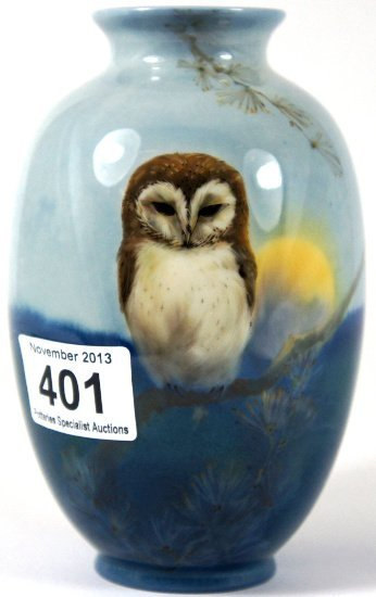 Royal Doulton titanian vase handpainted with a Owl in