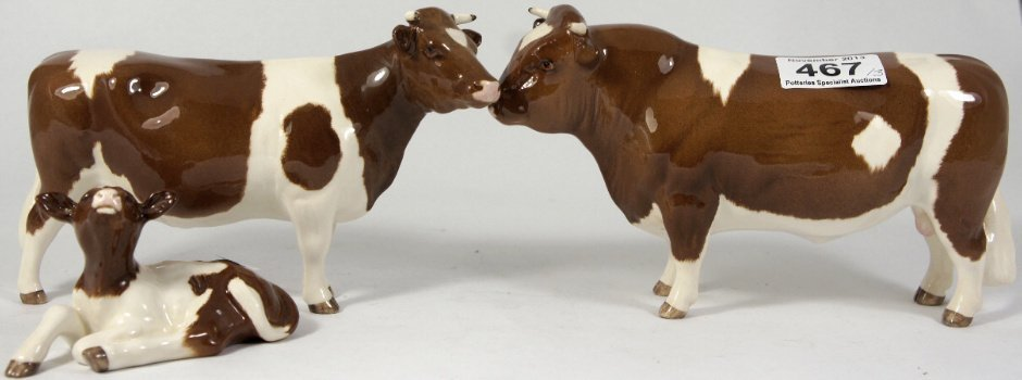 Beswick Set of Red friesians, Bull 1439C, Cow 1362B and
