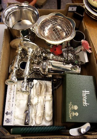 A collection of various silver plated items to include