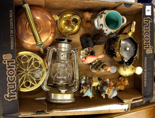 A collection of various pottery items and brass ware to