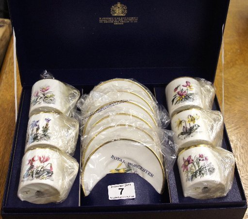 A Royal Worcester boxed coffee set boxed in botanical f