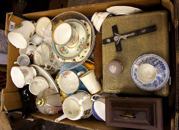 A collection of various pottery and items to include wo