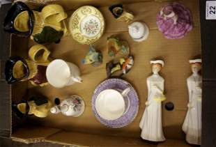 A collection of various pottery to include, Paragon fig