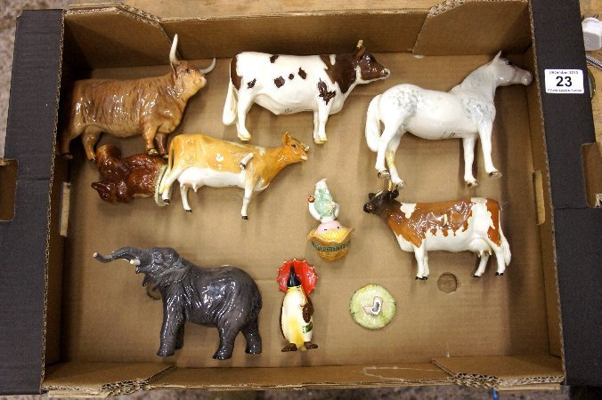 A collection of various Bewsick to include Highland cow