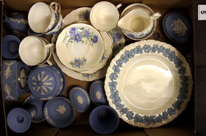 A collection of Wedgwood Blue Jasperware dishes,