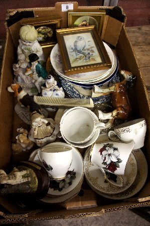 A collection of pottery to include various plates,