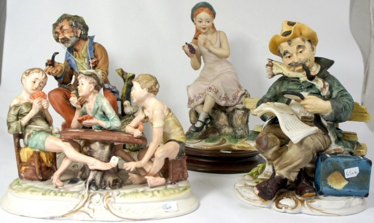 capodimonte figures tramps, boys playing cards, girl