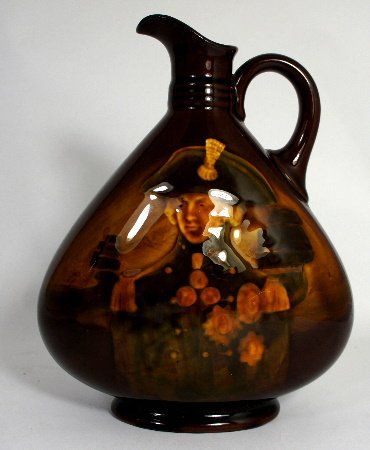 Royal Doulton Kingsware Dewars Whiskey Flask Lord