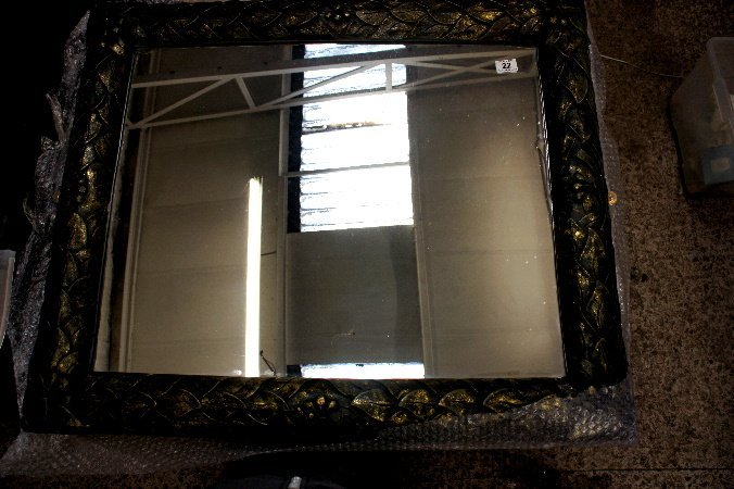 A Large Framed Wall mirror in distressed paint 80cm by